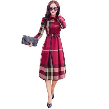 2016 European Style Women Spring Autumn Dress Elegant A-Line Plaid Long Sleeve Dress Slim Work Wear OL Dresses SS372