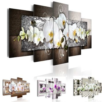 Fashion Wall Art Canvas Painting 5 Pieces Mangnolia Flower Orchid Flower Modern Home Wall Decor for Living Room Gift ( No Frame)