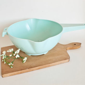 Vintage Large Tupperware Robins Egg Blue Strainer Colander for Vegetables Fruit Pasta