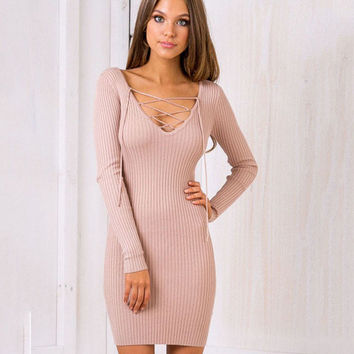 2016 Women Autumn V-Neck Long Sleeve Bodycon Bandage  Elegant Knitted Dress Fall Plus Size Party Sexy Dress Winter Vestidos