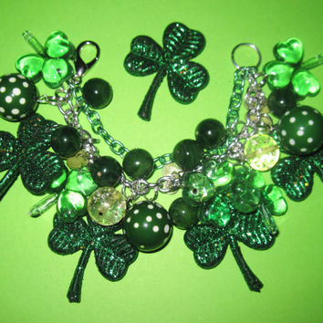 St Patrick's Day Charm Bracelet Vintage Style Jewelry Lucky Irish Clover Shamrocks Green OOAK Chunky Loaded Statement Piece
