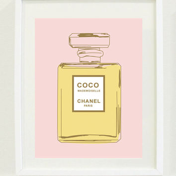 "Print: 12 ""X 18"" Coco Chanel Perfume Bottle Print, Office wall art, Bedroom wall art, fashion"