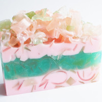 Bath Soap, Scented Bath Bar, Artisan Soap, Pink and Green, Palm Free Soap, Vegan Soap, Glycerin Soap, Melt and Pour Soap, Bath Decor