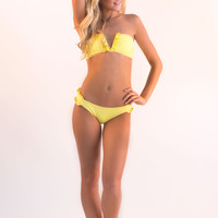 Ruffle V Bandeau Swimsuit Top - Sunny Side Up