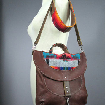 Leather cross body bag with Pendleton wool details , iPad Messenger Bag, Travel Bag, Pure Wool