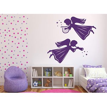 Vinyl Decal Angels and Saints Decor Wall Stickers Angels Winged Beings Harp Light Pipe Unique Gift (n405)