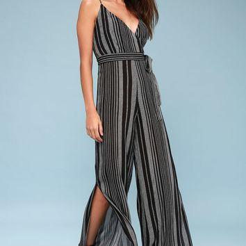 Sonoma Black Striped Wide-Leg Jumpsuit