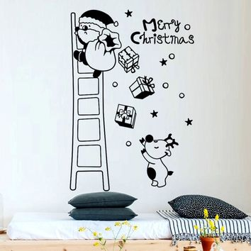 Christmas Wall Stickers Santa Claus Santa Claus stair giving gifts Vinyl Art Stickers Decoration For Home Kids room Sticker