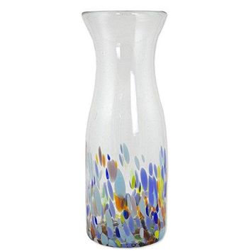 NOVICA Hand Blown Multicolor Glass Carafe, 28 oz. 'Confetti Festival'