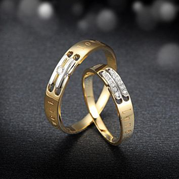 Diamond Engagement Ring Wedding Couple Set 0.02+0.04 Carat Jewelry 18K Yellow Gold Handmade Wedding Bands