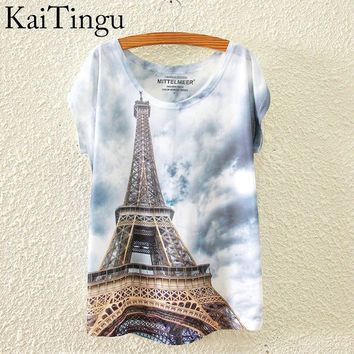 KaiTingu Brand 2016 New Print Fashion Spring Summer Harajuku T Shirt Women Tops Eiffel Tower Printed T-shirt White Woman Clothes