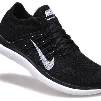 NIKE Women Men Running Sport Casual Shoes Sneakers Black knit line