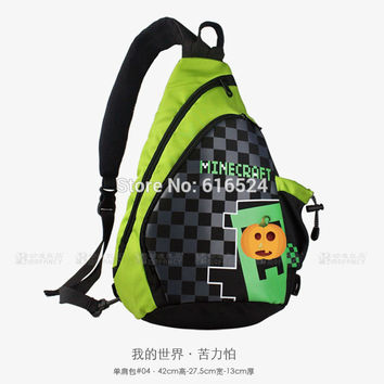 2016 HOT High Quality Minecraft backpack model toy merchandise MC creeper single shoulder bag GAME accessory Best Birthday Gifts