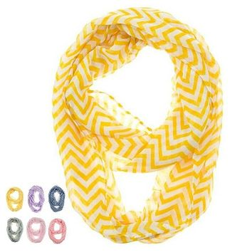 Women Infinity Chevron Zig Zag Color Block Double Loop Sheer Scarf Wrap Shawl