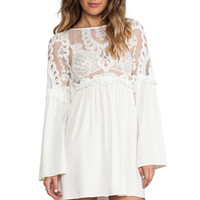 For Love & Lemons Isabella Dress w/ Lace Bodice in Ivory from REVOLVEclothing.com