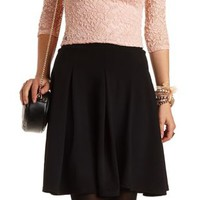 Box-Pleated Skater Skirt by Charlotte Russe