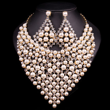 Gorgeous Bridal Jewelry Set, Wedding Pearl Necklace Earring For Brides