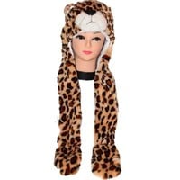 Plush Leopard Hat with Mittens Attached