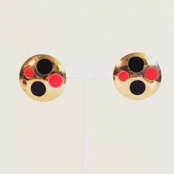 Polkadot Earrings 80s Enamel Metal Clip Red/Black Goldtone Vintage Ladybug Jewelry Accessories - FREE SHIPPING
