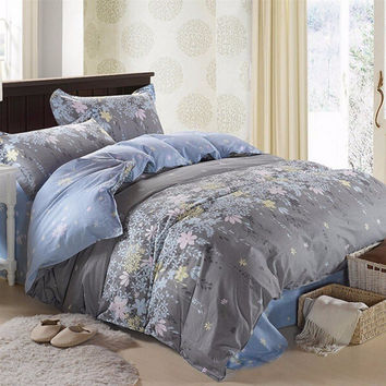 3 Or 4pcs Rosemary Flower Reactive Printing Bedding Sets Duvet Cover 3 Size
