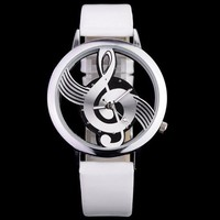 Musical Note Dial Quartz Movement Watch with Leather Band