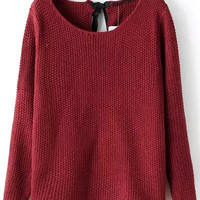 Red Long Sleeve Knotted Knit Sweater