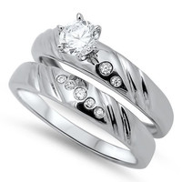 Sterling Silver CZ .75 carat Brilliant Round Cut Prong Set Solitaire Wedding Ring Set 5-10