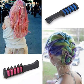 Temporary Hair Color Chalk Powder Comb Hair Dye Styling Tool for Cosplay Party