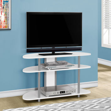 "Tv Stand - 38""L / White With Silver Accent"