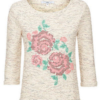 Cream Rose Embroidery 3/4 Sleeve Top