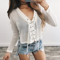 Tanya Lace Up Sweater (Ivory)