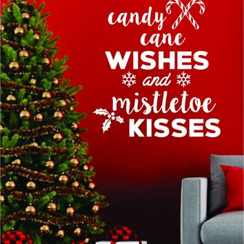 Candy Cane Wishes and Mistletoe Kisses Quote Wall Decal Sticker Bedroom Living Room Art Vinyl Beautiful Inspirational Decor Christmas Xmas Tree Joy Santa Decoration Holidays