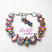 It's My Party, Swarovski Pave and Navette Crystal Flower Bracelet, Handset, Multicolor, DKSJewelrydesigns, FREE SHIPPING