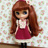 Blythe Dress + Hairband, 1:6 scale Doll fashion, Pullip, Barbie, Jenny, Sweet, Red, Pink, Lace, Flower, Outfit, Clothing, Kawaii, Cute