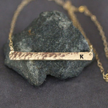Personalized 14k Gold Bar Necklace