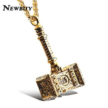 NEWBUY Brand Male Stainless Steel Punk Jewelry Cool Hammer Thor Pendant Statement Necklace Rock Hip Hop Jewelry
