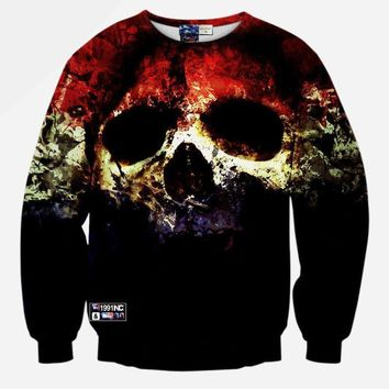 Skull Scary Face Blue White Red All Over Print Sweater
