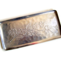 Vintage Hammered Aluminum Tin Tray with Embossed Flowers, Rectangular Serving Tray