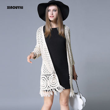 Tassel cardigan Women's new autumn and winter knit long cardigan women's large size long coat