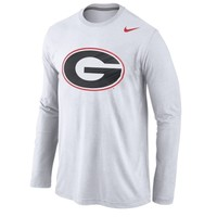 Nike Georgia Bulldogs White Logo Cotton Long Sleeve T-Shirt