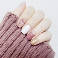24Pcs Fashion Fake Nails Glitter Gold White Pink Mauve Square Artificial Nail Tips with Glue Sticker for Office Home Faux Ongle