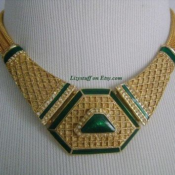 balenciaga paris timeless beauty extremely rare rich 24k gold plated emerald green color enamel and faux diamond accents art deco necklace 2