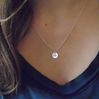 Silver Initial Necklace/ Personalized Silver Pendant/ Initial Disc Necklace/ Disk Necklace/Christmas Gift/Bridesmaids Gift/N91S