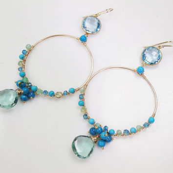 Wire Wrap Hoop Earring Blue Green Gemstone 14k Gold Filled Blue Topaz