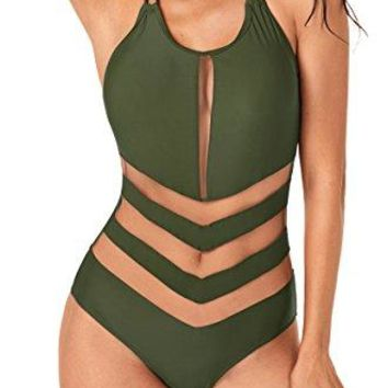 Annigo Womens Halter Bathing Suit Sexy Mesh One Piece Swimsuits