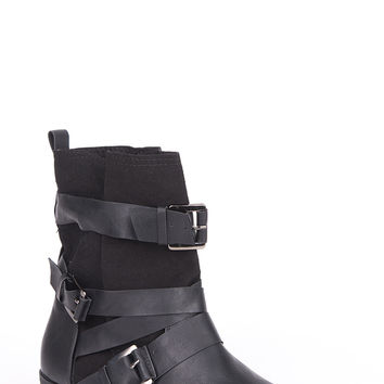 Wraparound Strap And Buckle Detail Ankle Boots