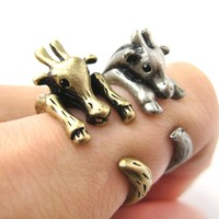 Large Giraffe Animal Wrap Around Ring in Brass - Sizes 4 to 9 Available