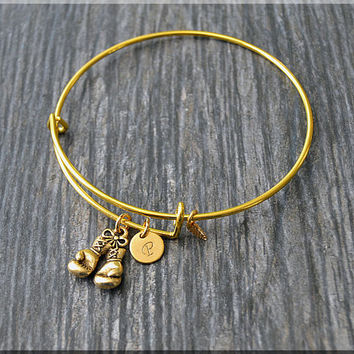 Gold Boxing Gloves Charm Expandable Bangle Bracelet, Adjustable Bangle, Stacking Charm Bracelet, Personalized Fighter Charm Bangle