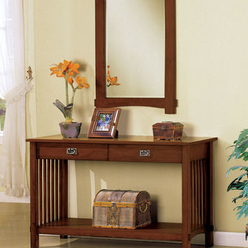 A.M.B. Furniture & Design :: Living room furniture :: Hall trees & Console tables :: Valencia Mission Style Accent Hallway Console Table with Under the Table Storage Shelf.