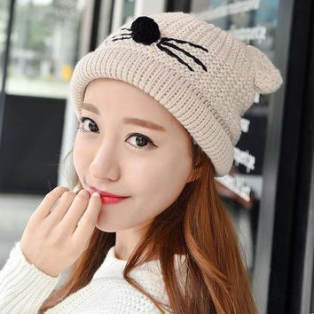 Fashion Autumn Winter Knitted Women Ladies Warm Fleece Lined Soft Nap Lined Cute Cat Whiskers Ears Skullies Beanies Hemming Hat